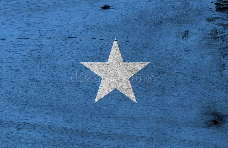 Flagga av Somalia på träplattabakgrund Somalian flaggatextur för Grunge arkivbilder