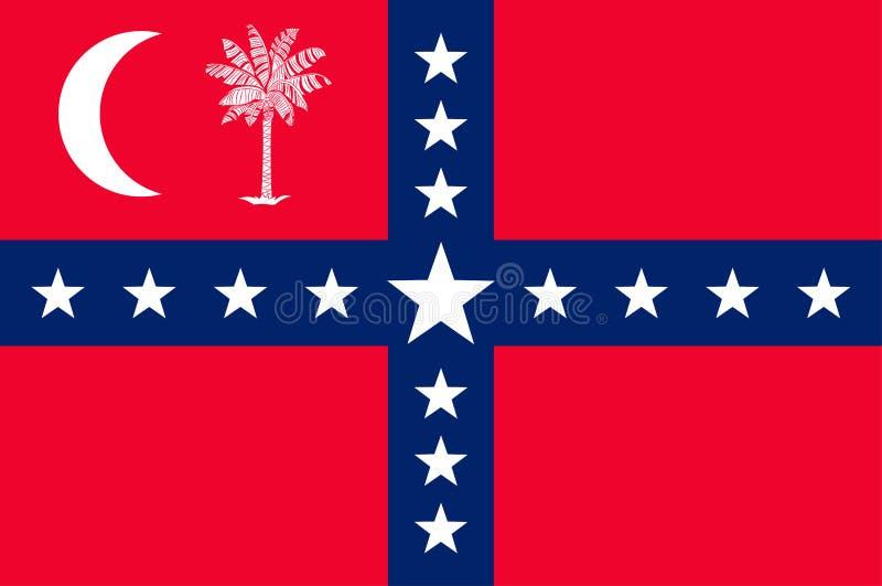Flagga av South Carolina, USA stock illustrationer
