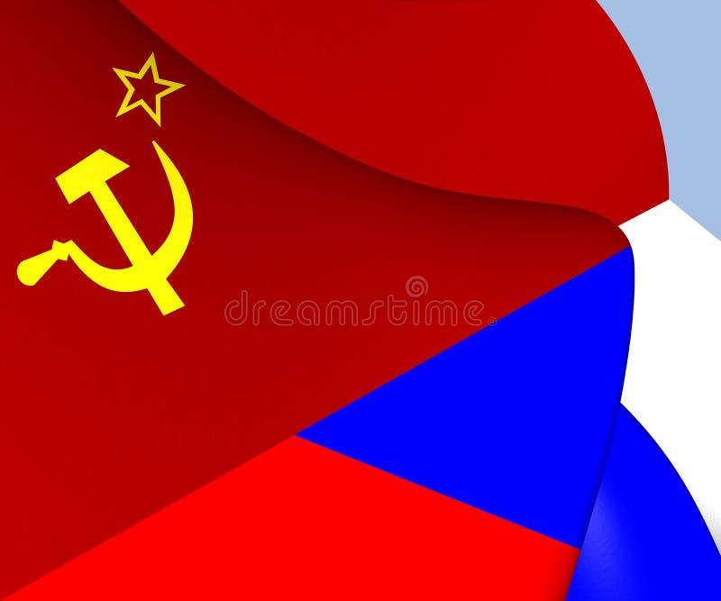 Flagga av Sovjetunionenet och Ryssland vektor illustrationer