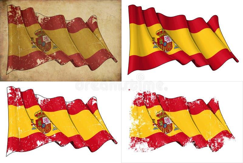 Flagga av Spanien vektor illustrationer