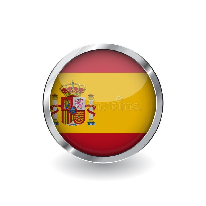 Flagga av Spanien, knapp med metallramen och skugga symbol för Spanien flaggavektor, emblem med glansig effekt och metallisk grän stock illustrationer