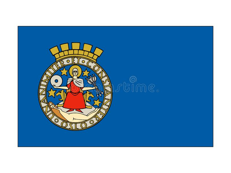 Flagga av staden av Oslo royaltyfri illustrationer
