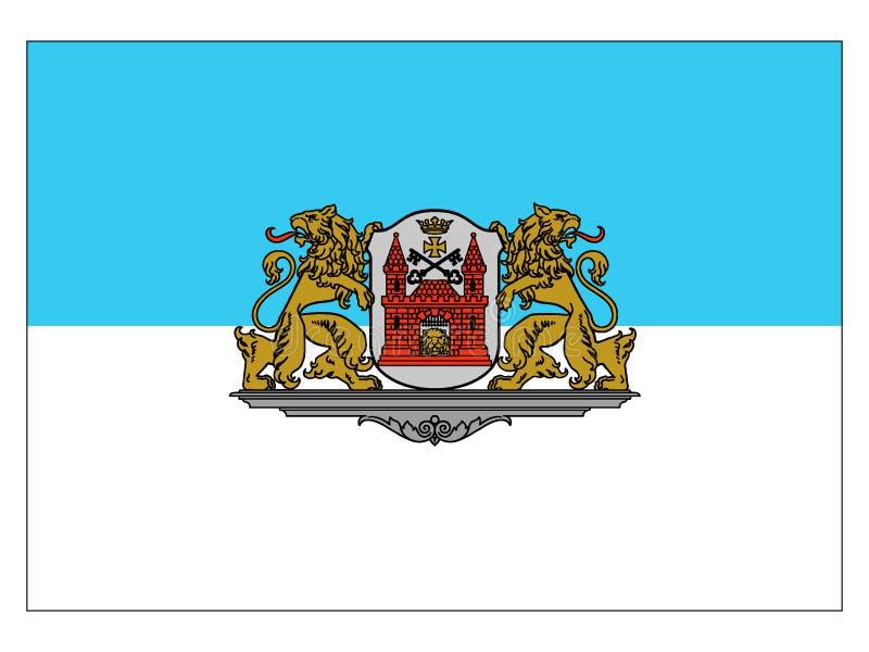 Flagga av staden av Riga stock illustrationer