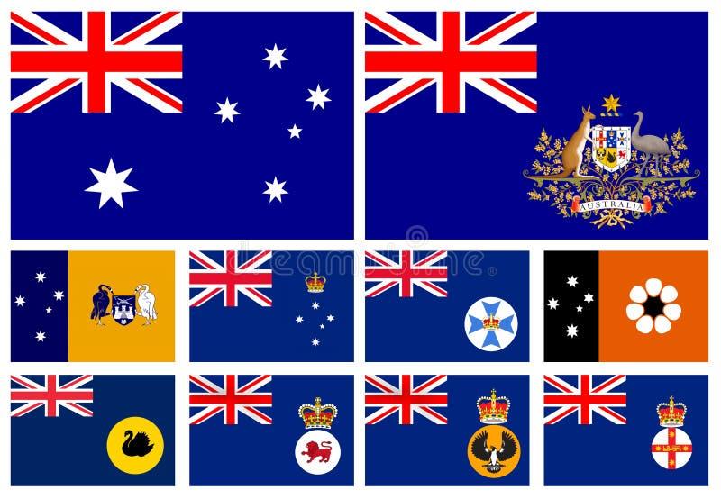 Flagga av stater av Australien royaltyfri illustrationer