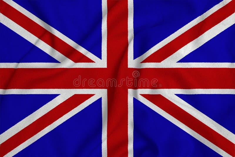 Flagga av Storbritannien från det fabrik stack tyget Bakgrunder och texturer arkivbild