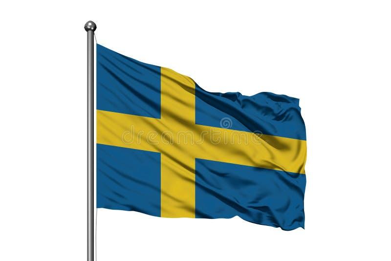 Flagga av Sverige som vinkar i vinden, isolerad vit bakgrund flag svensk royaltyfria bilder