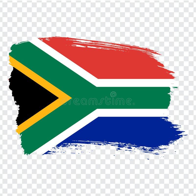 Flagga av Sydafrika, borsteslaglängdbakgrund Flagga Sydafrika på genomskinlig bakgrund för din webbplatsdesign, logo, app, U stock illustrationer