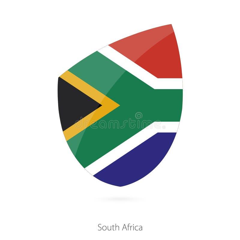 Flagga av Sydafrika i stilen av rugbysymbolen royaltyfri illustrationer