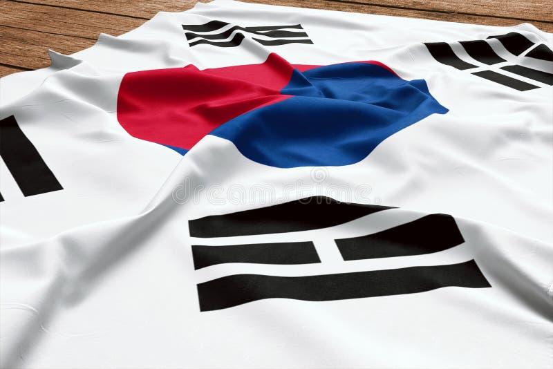 Flagga av Sydkorea p? en tr?skrivbordbakgrund B?sta sikt f?r siden- sydkoreansk flagga arkivfoto