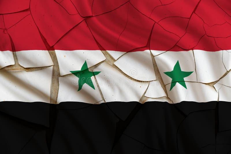 Flagga av Syrien på en sprucken målarfärgvägg Ett symbol av ett kuggningtillstånd från syriansk inbördeskrig royaltyfri bild