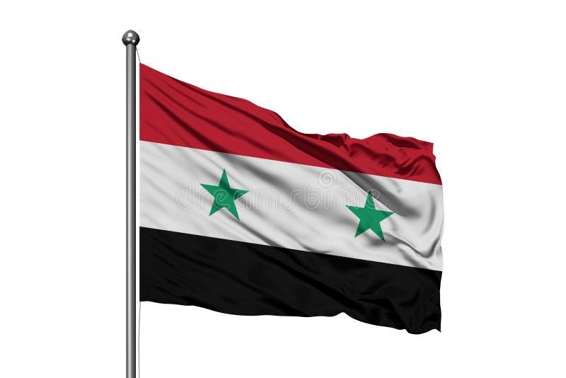 Flagga av Syrien som vinkar i vinden, isolerad vit bakgrund Syriansk flagga arkivbild