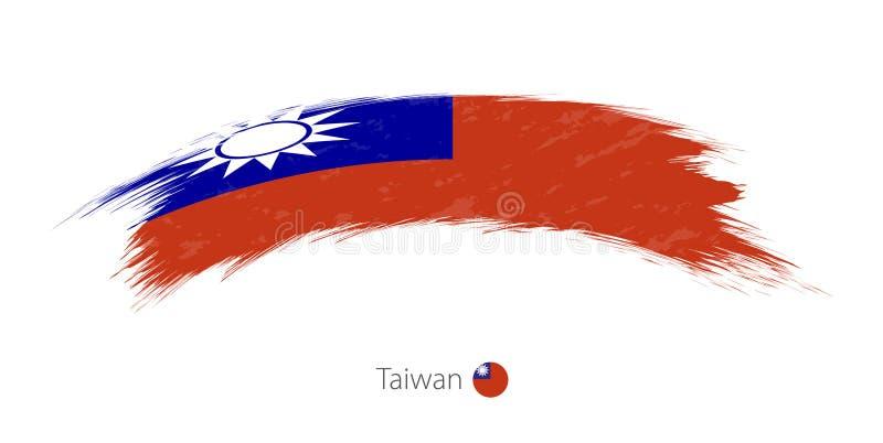 Flagga av Taiwan i rundad grungeborsteslaglängd stock illustrationer