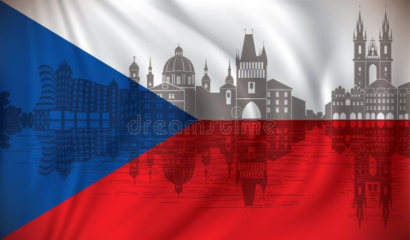 Flagga av Tjeckien med Prague horisont vektor illustrationer