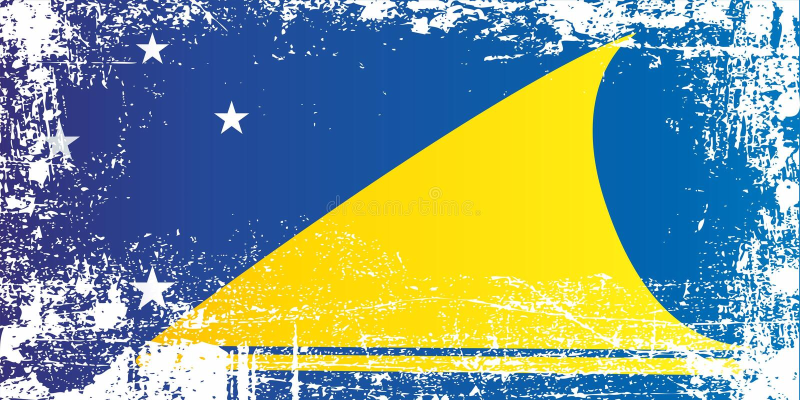 Flagga av Tokelau, beroende territorium av Nya Zeeland Rynkiga smutsiga fläckar royaltyfri illustrationer