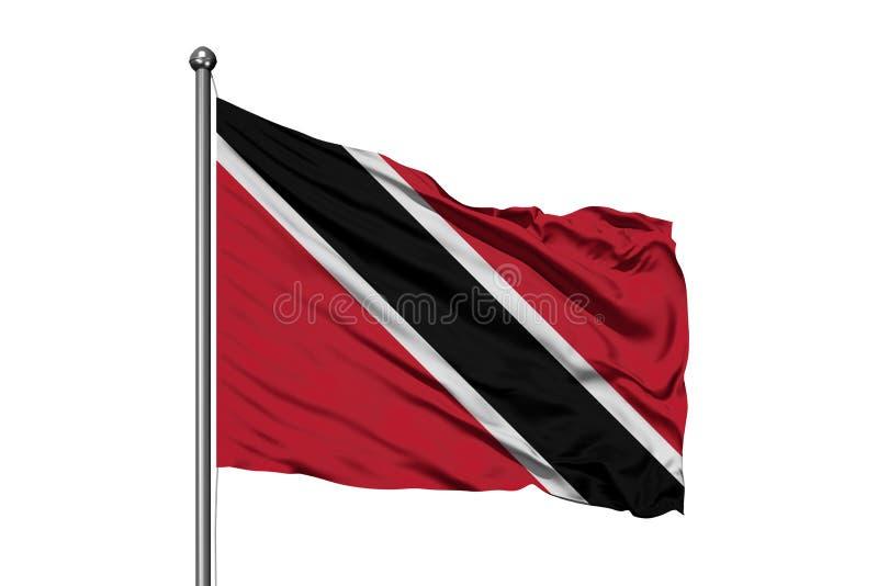 Flagga av Trinidad och Tobago som vinkar i vinden, isolerad vit bakgrund royaltyfri foto