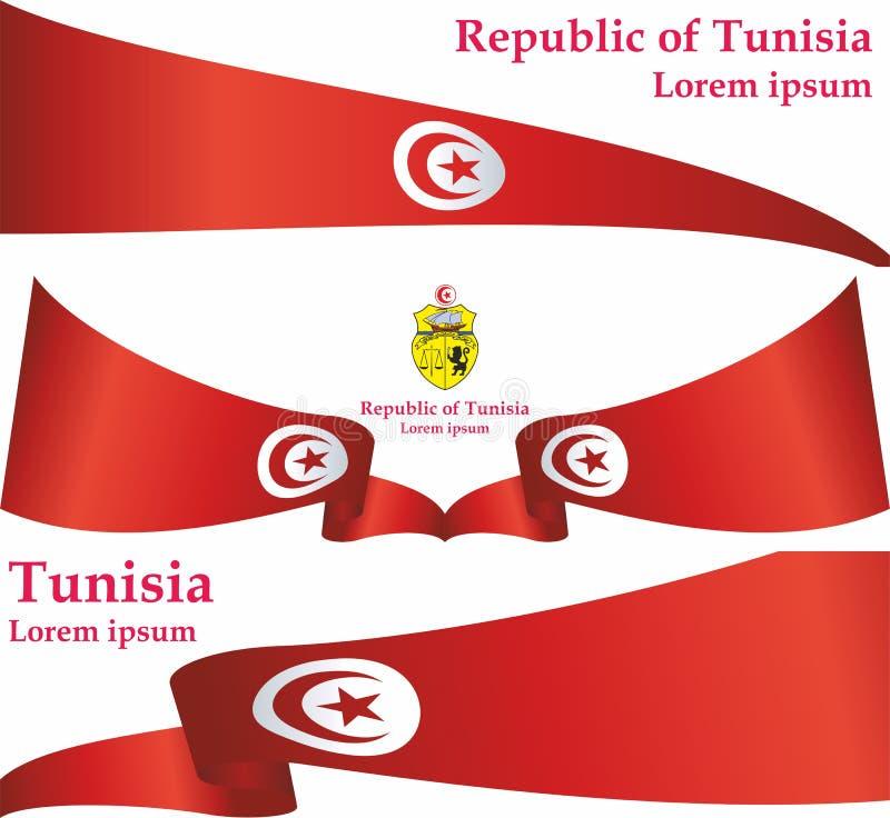 Flagga av Tunisien, Republiken Tunisien Mall för utmärkelsedesign, ett officiellt dokument med flaggan av Tunisien royaltyfri illustrationer