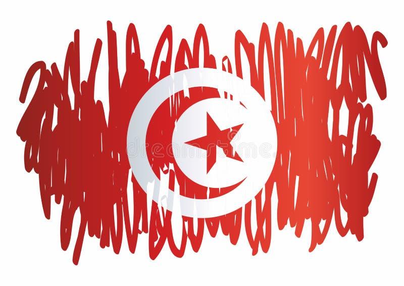 Flagga av Tunisien, Republiken Tunisien Mall för utmärkelsedesign, ett officiellt dokument med flaggan av Tunisien vektor illustrationer
