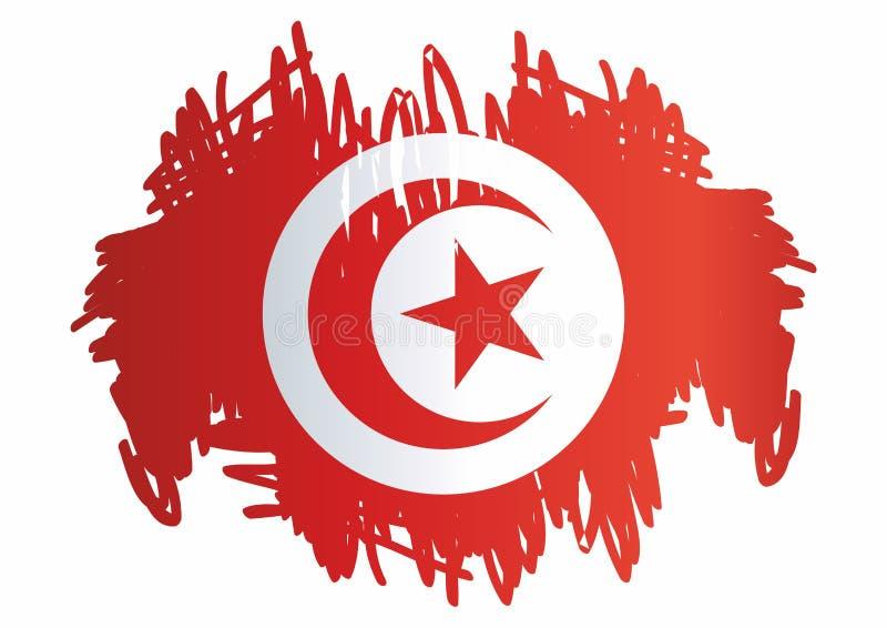 Flagga av Tunisien, Republiken Tunisien Mall för utmärkelsedesign, ett officiellt dokument med flaggan av Tunisien stock illustrationer