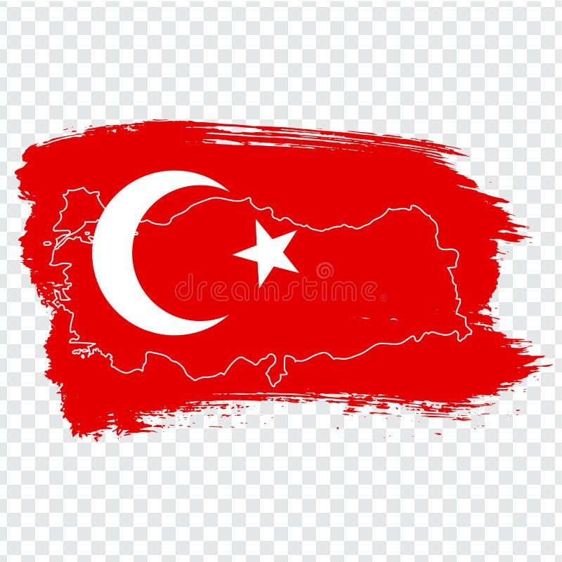 Flagga av Turkiet från borsteslaglängder och den tomma översikten Turkiet Högkvalitativ översikt av Turkiet på genomskinlig bakgr vektor illustrationer