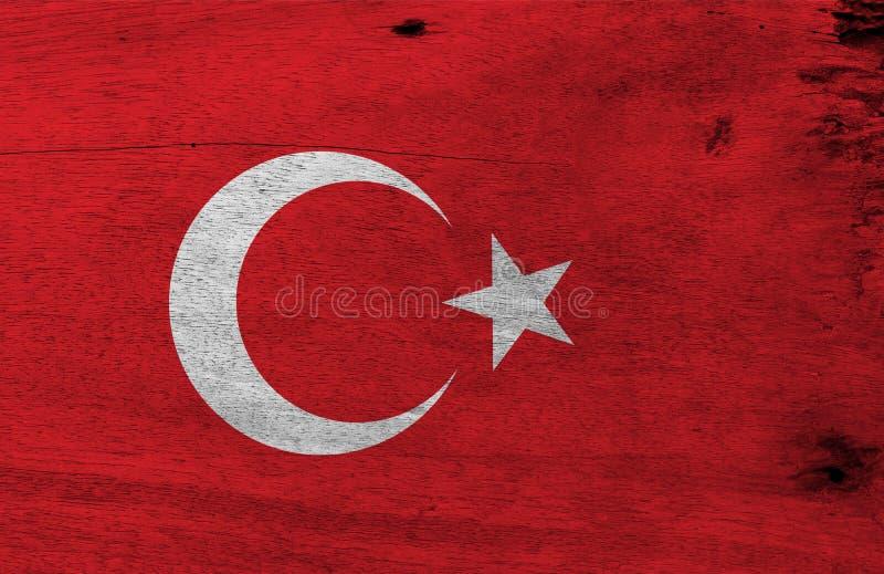Flagga av Turkiet på träplattabakgrund Textur för GrungeTurkiet flagga royaltyfri illustrationer