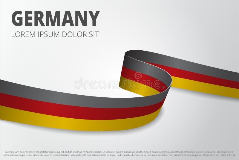 Flagga av Tysklandbakgrund Tyskt band Design för kortorientering också vektor för coreldrawillustration stock illustrationer