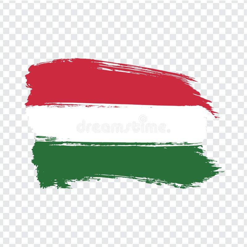 Flagga av Ungern från borsteslaglängder FlaggaUngern på genomskinlig bakgrund för din webbplatsdesign, logo, app, UI royaltyfri illustrationer