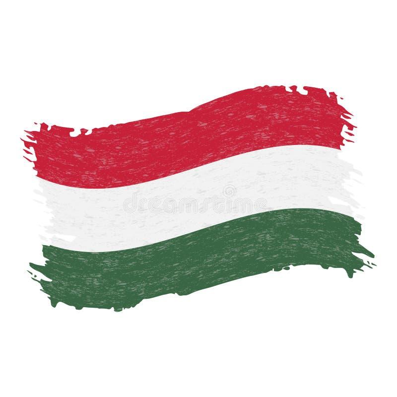 Flagga av Ungern, slaglängd för Grungeabstrakt begreppborste som isoleras på en vit bakgrund också vektor för coreldrawillustrati stock illustrationer