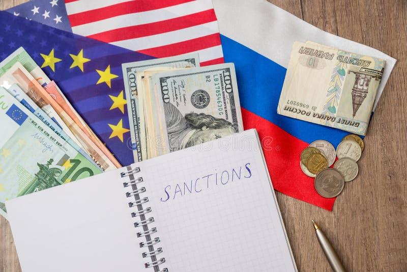 Flagga av USA och Europa Ryssland och pengar royaltyfria foton
