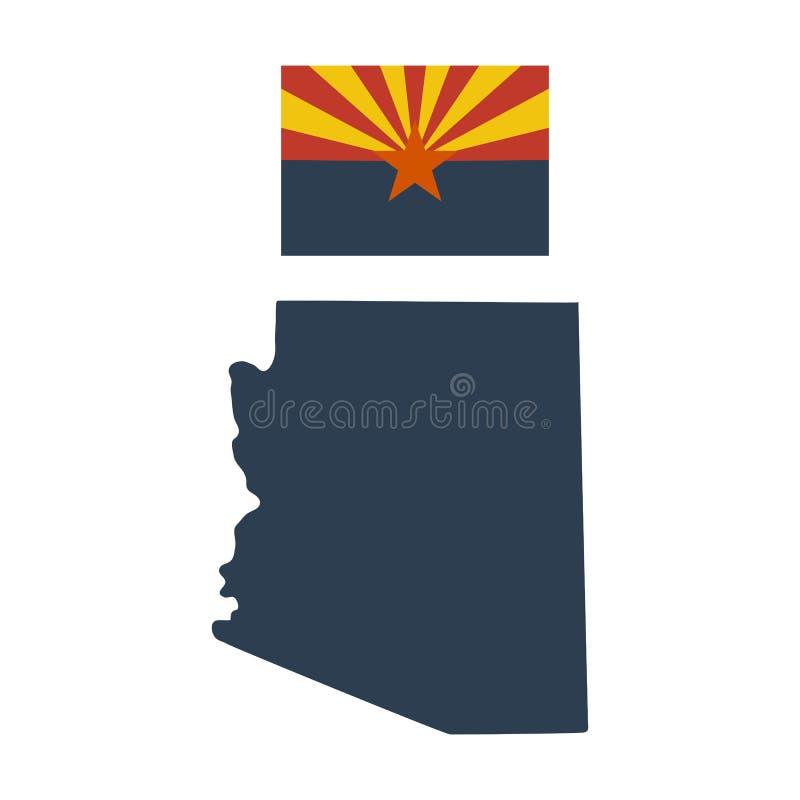 Flagga av USA-staten av Arizona och översikten vektor illustrationer