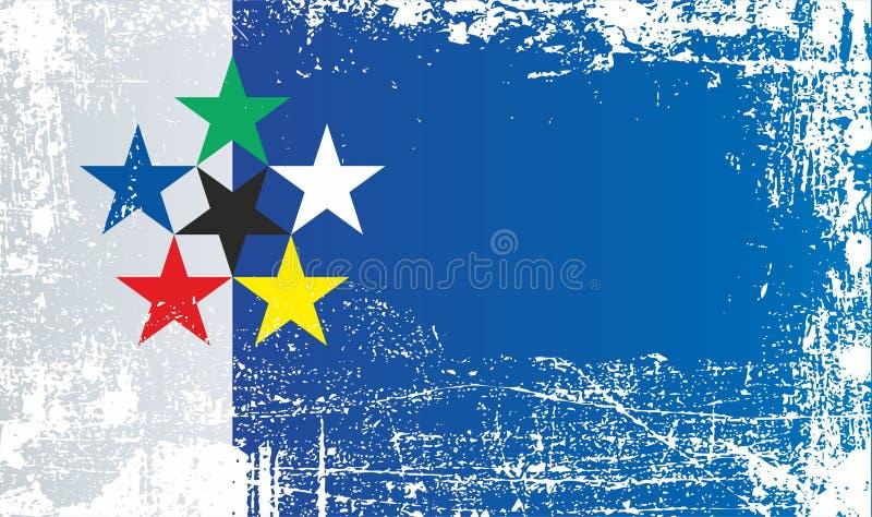 Flagga av världen, internationell federation av Vexillological anslutningar Rynkiga smutsiga fläckar royaltyfri illustrationer