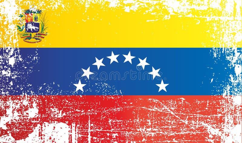 Flagga av Venezuela, Bolivarianska republiken Venezuela, rynkiga smutsiga fläckar vektor illustrationer