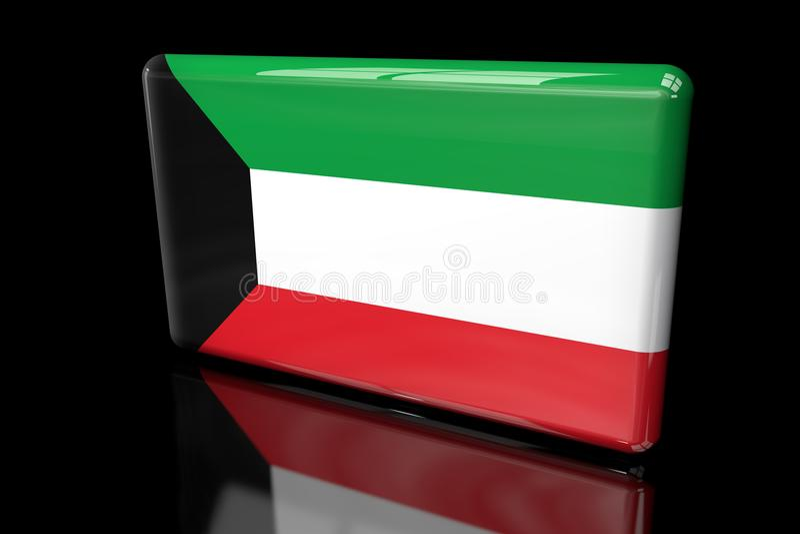 Flagga av volymetriska Kuwait 3D vektor illustrationer