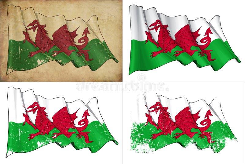Flagga av Wales stock illustrationer