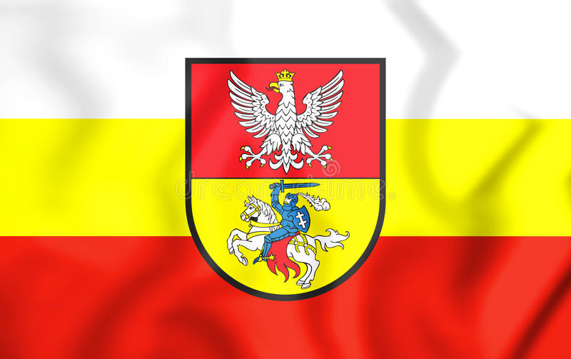 flagga 3D av Bialystok, Polen vektor illustrationer