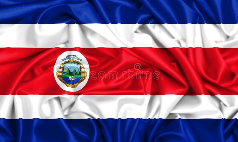 flagga 3d av Costa Rica som vinkar i vinden stock illustrationer