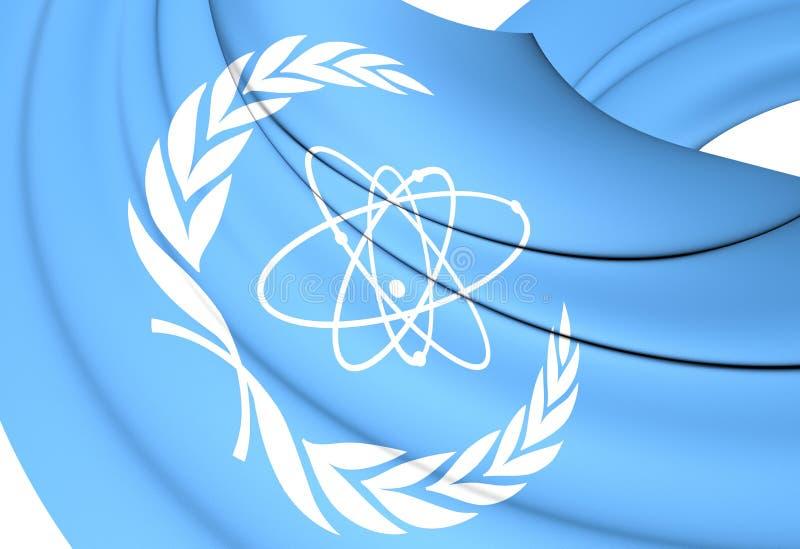 flagga 3D av den internationella atomenergibyrån stock illustrationer