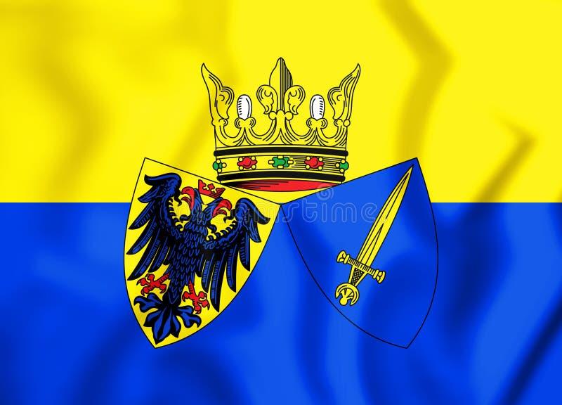 flagga 3D av Essen norr Rhen-Westphalia, Tyskland stock illustrationer