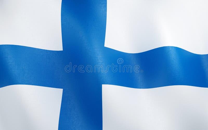 flagga 3D av Finland royaltyfri illustrationer