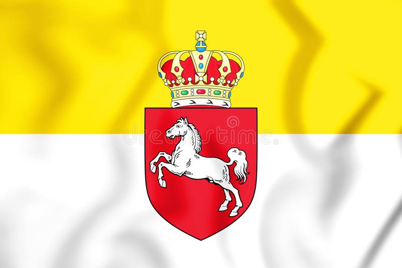 flagga 3D av Hannover 1837-1866 stock illustrationer