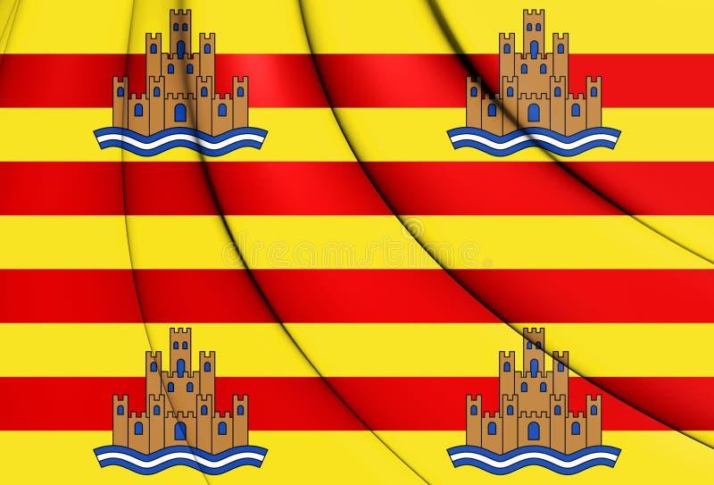 flagga 3D av Ibiza, Spanien stock illustrationer