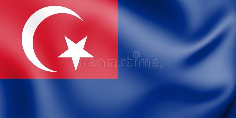 flagga 3D av Johor, Malaysia vektor illustrationer