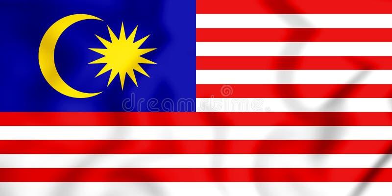 flagga 3D av Malaysia stock illustrationer