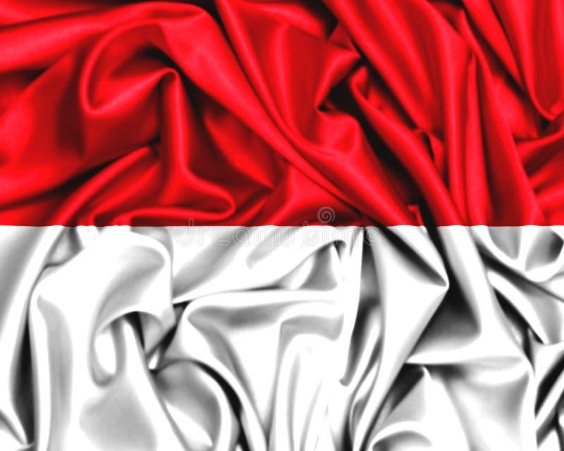 flagga 3d av Monaco eller Indonesien som vinkar i vinden vektor illustrationer