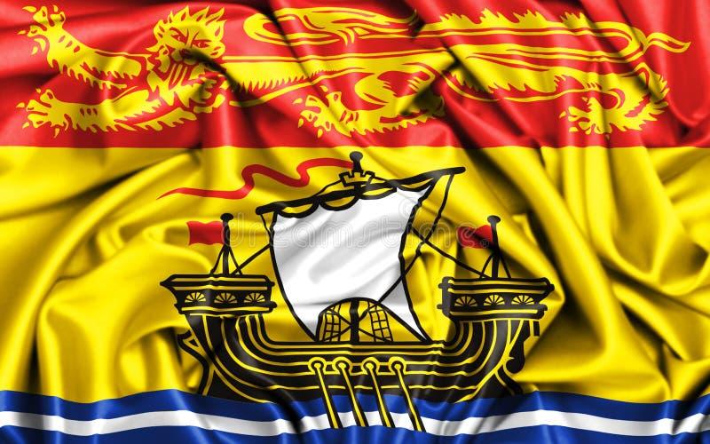 flagga 3d av New Brunswick som vinkar i vinden royaltyfri illustrationer