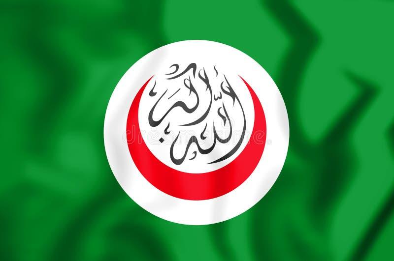 flagga 3D av organisationen av islamiskt samarbete royaltyfri illustrationer