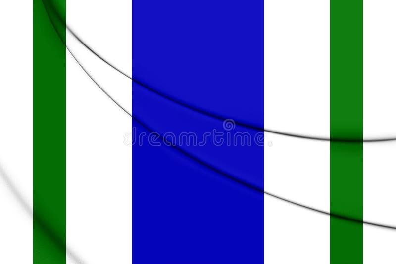 flagga 3D av Vega Alta, Puerto Rico stock illustrationer