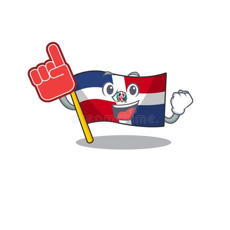 Flagga dominikan republic mascot-teckningsstil med ett skumfinger stock illustrationer