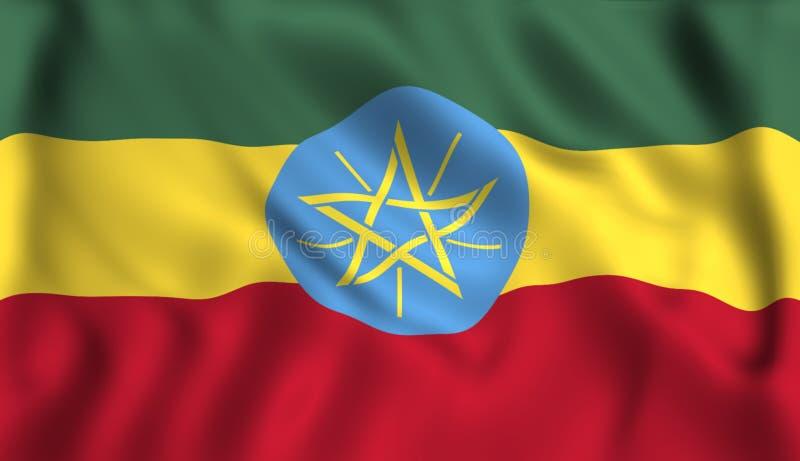 Flagga Etiopien som vinkar i vinden royaltyfri illustrationer