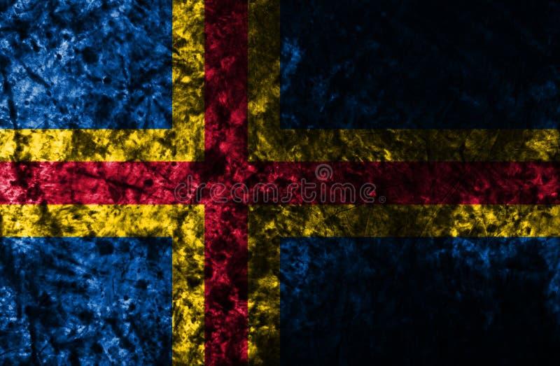Flagga för Aland grungebakgrund, Finland beroende territoriumflagga royaltyfri foto
