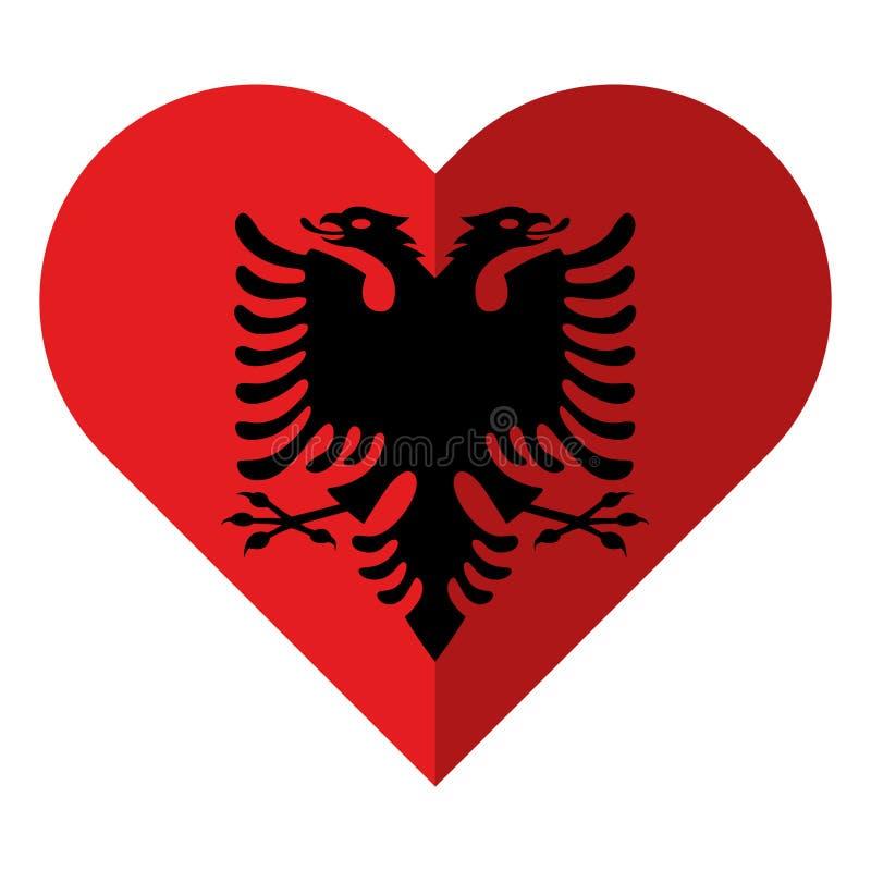 Flagga för Albanien lägenhethjärta royaltyfri illustrationer